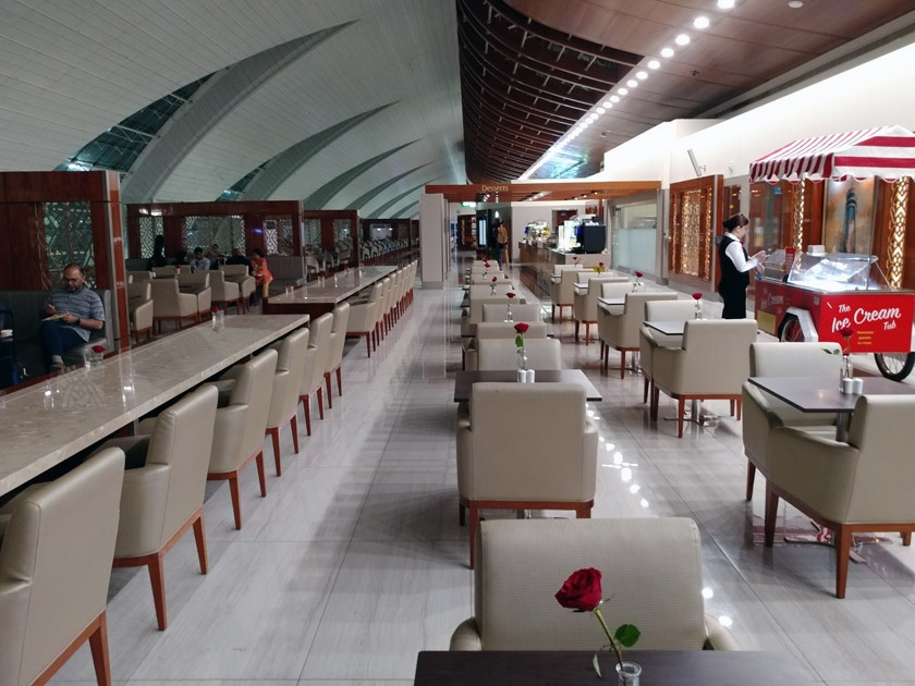Emirates Dubai Business Class Lounge seating options - only1invillage.com