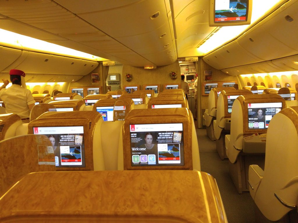 only1invillage emirates 777 300 business class review Denpasar to Dubai