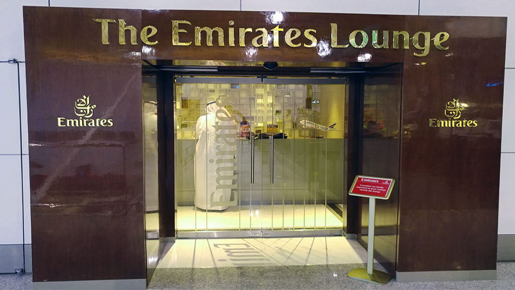 The entrance to the Emirates Business Class Lounge KL