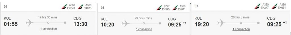 Emirates flight times from Kuala Lumpur to Paris