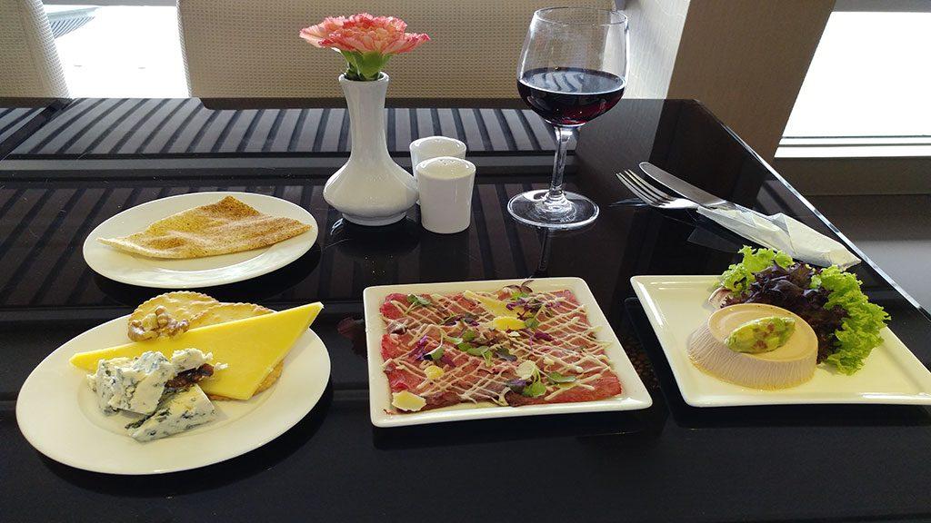 Gourmet food in the Emirates business class lounge in Kuala Lumpur
