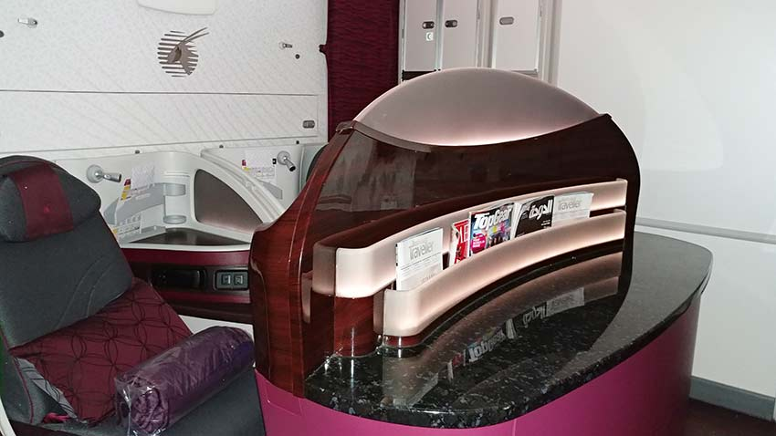 Qatar 787-8 dreamliner business class lgw to doha seats near the toilet avoid