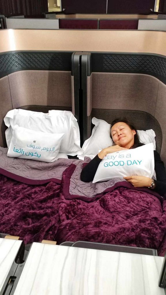 Qatar Qsuite A350-1000 Doha to Singapore review the bed in the sky business class