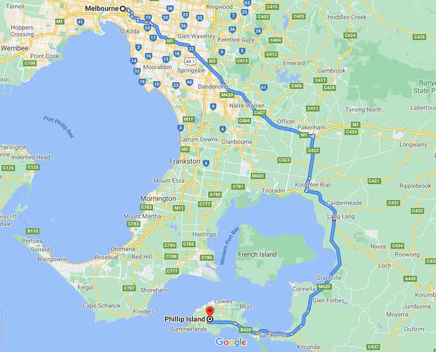 Melbourne to Philip Island map is a 2 hour drive Only1invillage