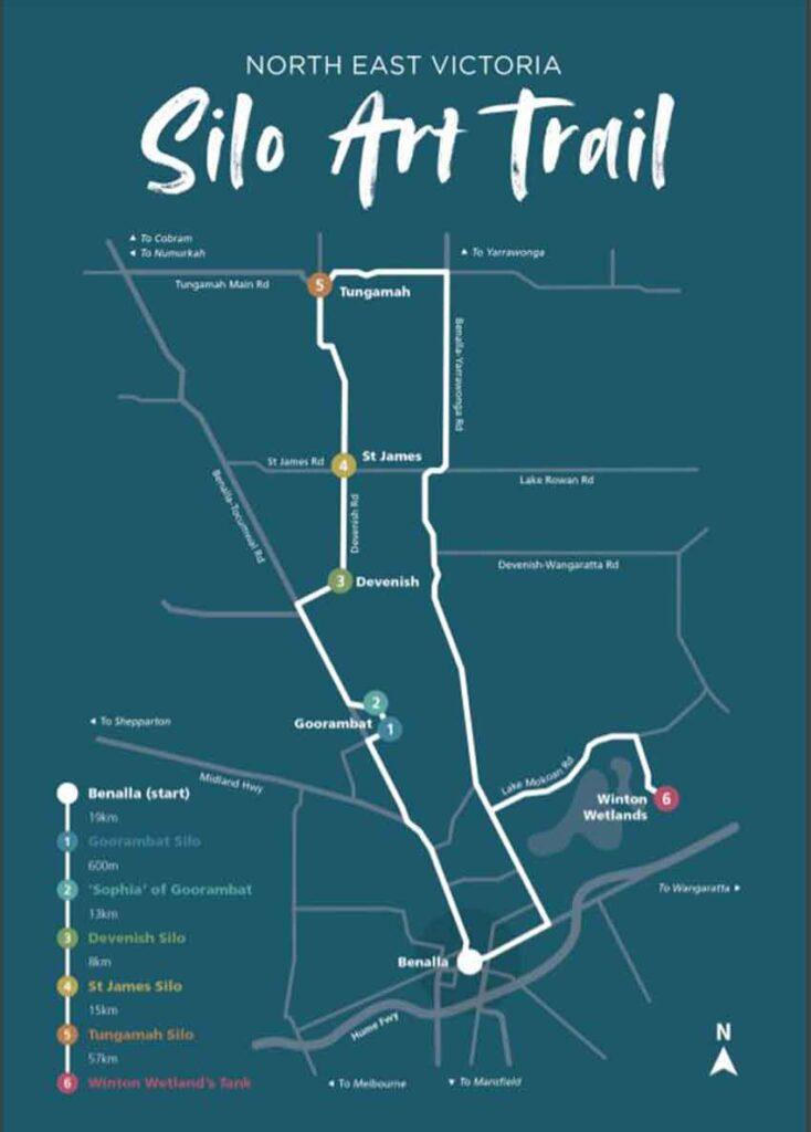 North East Victoria Silo ARt Trail map only1invillage courtesy of Bennalla Tourism
